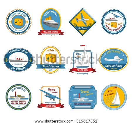 Luxury yacht sea sail dream cruise vacation travel agency offer color icons set abstract isolated  illustration - stock photo