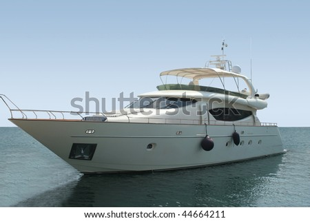 Luxury yacht with horizon line - stock photo