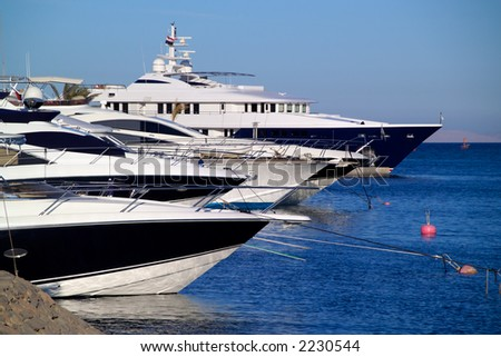 Luxury yachts at El Gouna, Egypt, on the Red Sea.  Point of focus is nearest yacht.