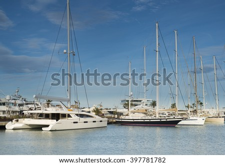 Luxury yachts in marina .