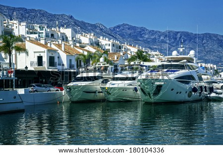 Luxury yachts in Puerto Banus, the marina of Marbella, Spain  - stock photo