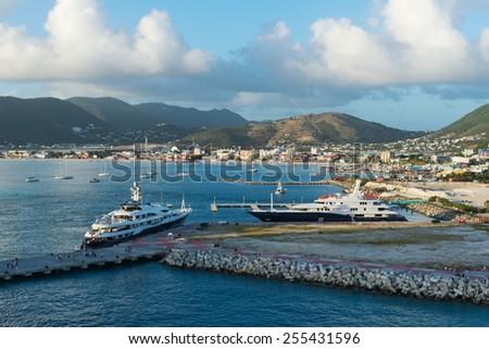 Luxury yachts in the harbor, Great Bay, Philipsburg, St. Martin - stock photo