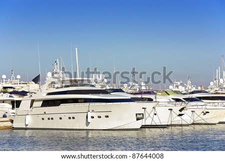 Luxury yatches standing on a yacht club in Majorca (Balearic Islands - Spain) - stock photo