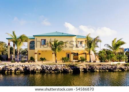 luxury yellow house - stock photo