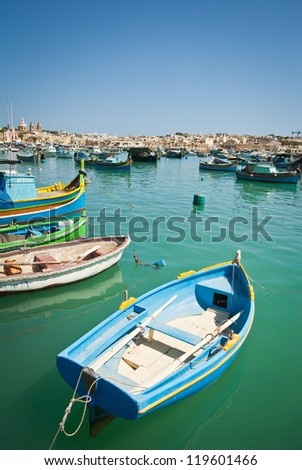 Luzzu, traditional eyed boats - stock photo