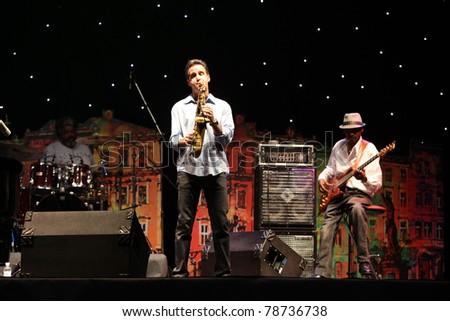 LVIL, UKRAINE - JUNE 4: Jeff Lorber Fusion in concert during Alfa Jazz Festival on June 4, 2011 in Lviv, Ukraine. - stock photo