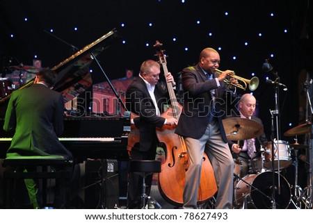 LVIL, UKRAINE - JUNE 3: Wynton Marsalis and Igor Butman Quartet in concert during Alfa Jazz Festival on June 3, 2011 in Lviv, Ukraine. - stock photo