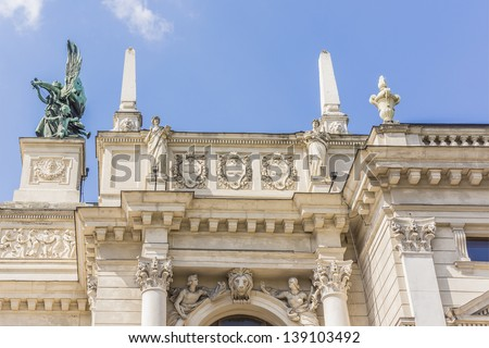 Lviv State Academic Opera and Ballet Theatre, view from Liberty Avenue. Theatre was built in classical tradition of Renaissance and Baroque architecture (Viennese neo-Renaissance style). Ukraine. - stock photo