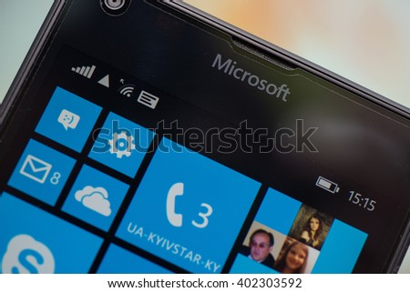 LVIV, UKRAINE - apr 06, 2016:  Microsoft Lumia 640 Windows Phone with icon on screen - stock photo
