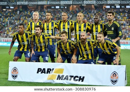 LVIV, UKRAINE - AUG 5: Overall group photo of Fenerbahce during the UEFA Champions League match between Shakhtar vs Fenerbahce, 5 August 2015, Arena Lviv, Lviv, Ukraine - stock photo