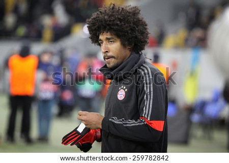 LVIV, UKRAINE - FEBRUARY 17, 2015: Dante of Bayern Munich looks on before UEFA Champions League game against FC Shakhtar Donetsk - stock photo