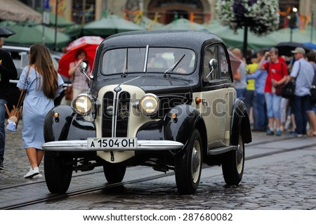Lviv, Ukraine - June 2015: Auto festival Leopolis grand prix 2015. Old vintage retro car. Photos taken in rainy weather