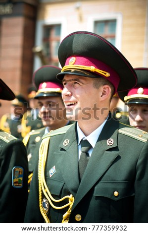 Lviv, Ukraine, June 26, 2013. Ukrainian military. Graduates from the Academy of Ground Forces named after Sahaidachny Ukrainian military solemn events.