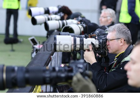 LVIV, UKRAINE - March 10, 2016: Football photographers at work during the UEFA Europa League Round of 16 game FC Shakhtar Donetsk vs RSC Anderlecht at Lviv Arena stadium