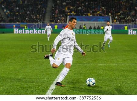 LVIV, UKRAINE - NOVEMBER, 25: Cristiano Ronaldo of FC Real Madrid during the match of UEFA Champions League against FC Shakhtar at the Arena Lviv stadium on November 25, 2015 in Lviv, Ukraine. - stock photo