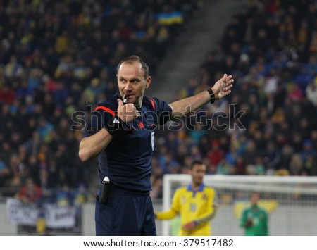 LVIV, UKRAINE - NOVEMBER 14th, 2015: Referee Jonas Eriksson during the match of play-off UEFA EURO 2016 national team of Ukraine vs Slovenia, Arena Lviv