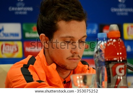 LVIV, UKRAINE - OCT 25: Bernard in a press conference before the UEFA Champions League match between Shakhtar vs Real Madrid, 25 October 2015, Arena Lviv, Ukraine