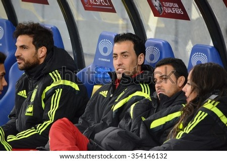 LVIV, UKRAINE - OCT 12: Cesc Fabregas (L), Sergio Busquets and Pedro Rodriguez before the UEFA EURO 2016 qualifying match national team of Ukraine vs Spain, 12 October 2015, Olympic NSC, Kiev, Ukraine