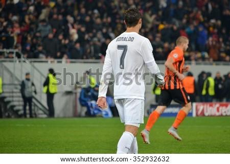 LVIV, UKRAINE - OCT 25: Cristiano Ronaldo in action during the UEFA Champions League match between Shakhtar vs Real Madrid, 25 October 2015, Arena Lviv, Ukraine - stock photo