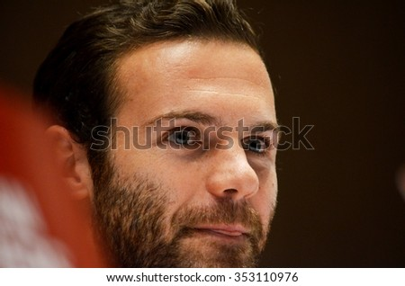 LVIV, UKRAINE - OCT 12: Juan Mata at a press conference before the UEFA EURO 2016 qualifying match national team of Ukraine vs Spain, 12 October 2015, Olympic NSC, Kiev, Ukraine