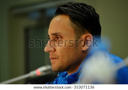 LVIV, UKRAINE - OCT 25: Keylor Navas in a press conferencein before the UEFA Champions League match between Shakhtar vs Real Madrid, 25 October 2015, Arena Lviv, Ukraine