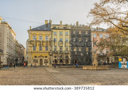 LVIV, UKRAINE - OCT 27, 2015: Morning Lviv.  The Market Square. Posta Museum. Fountain of Adonis. Black house. Museum of pharmacy. Picture taken in the morning during a trip to Lviv.