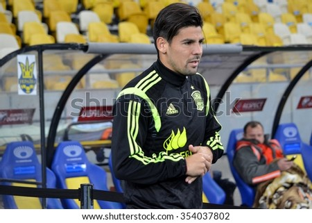 LVIV, UKRAINE - OCT 12: Nolito Agudo Duran before the UEFA EURO 2016 qualifying match national team of Ukraine vs Spain, 12 October 2015, Olympic NSC, Kiev, Ukraine
