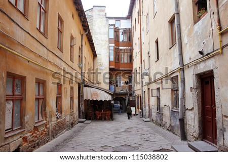 LVIV, UKRAINE - OCTOBER 5: Street cafe in the courtyard of an old house on October 5 2012 in Old Town of Lviv, Western Ukraine. Lviv's historic center has been on UNESCO World Heritage list since 1998