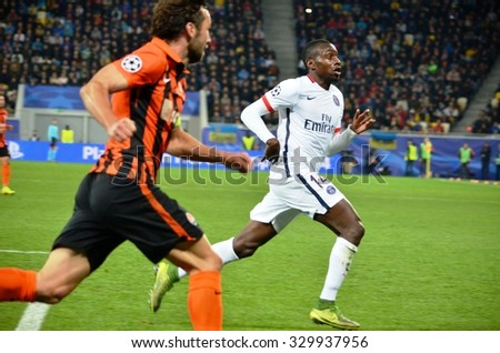 LVIV, UKRAINE - SEP 30: Blaise Matuidi (R) and Srna in action during the UEFA Champions League match between Shakhtar vs PSG (Paris Saint-Germain), 30 September 2015, Arena Lviv, Lviv, Ukraine