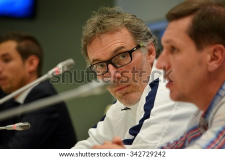 LVIV, UKRAINE - SEP 30: Coach Laurent Blanc at the press conference before the UEFA Champions League match between Shakhtar vs PSG, 30 September 2015, Arena Lviv, Ukraine