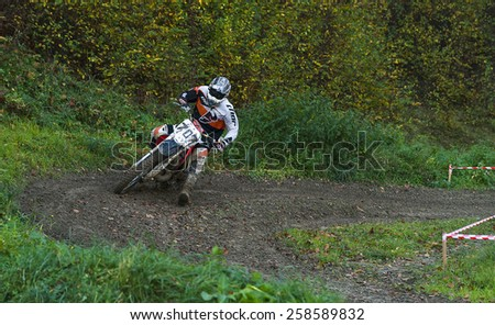 Lvov - October 19: Unidentified rider in action in Galicia Motocross Fest October 19,2014 in Lvov,Ukraine - stock photo