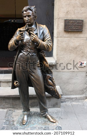 Lvov, Ukraine - CIRCA AUGUST 2013: monument of founder of masochism Leopold Ritter von Sacher-Masoch in Lvov city