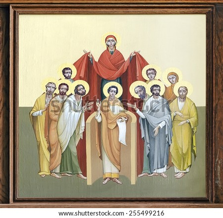 LVOV, UKRAINE - JUNE 06: The internal painting of the church of St. Anne, an illustration of the Pentecost on June 06, 2012 in Lvov, Ukraine. The author - Ivan Protsiv. - stock photo