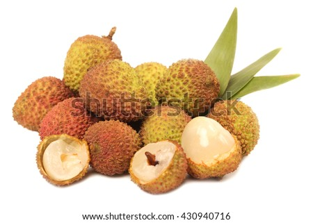 Lychee fruit. Fresh lychees fruit in isolated on white background - stock photo