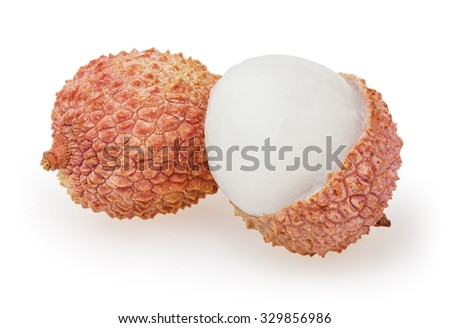 Lychees isolated on white background with clipping path - stock photo