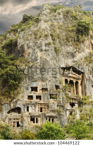 Lycian Tombs Carved into Mountain at Fethiye Turkey
