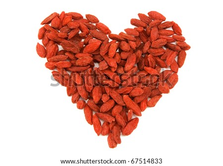 Lycium tibetan, heart maked by tonic herb with a history of almost 2000 years of medicinal use - stock photo
