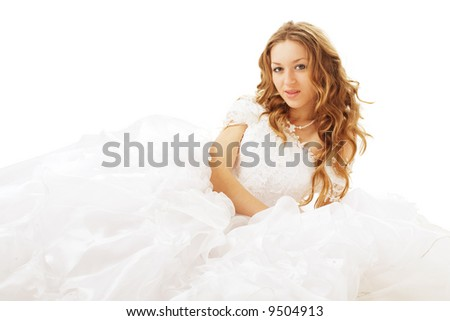 lying beauty bride in white dress isolated