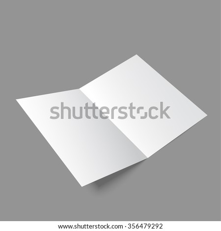 cardboard brochure holder template - blank trifold white template paper soft stock photo