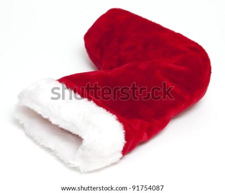 lying christmas sock isolated on white background - stock photo