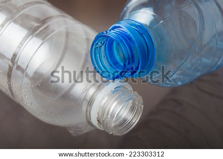 lying empty bottles for water - stock photo