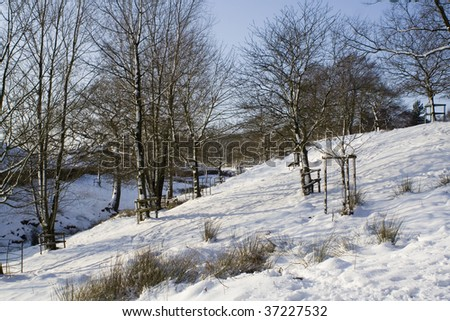 Lyme Park after the snow - stock photo