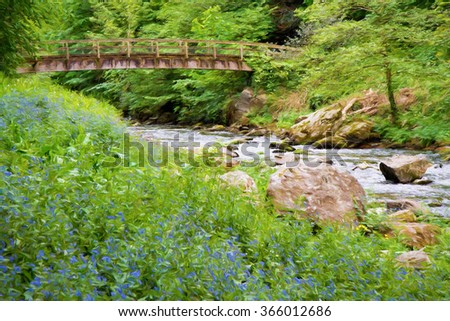 Lynmouth to Waters meet walk along the River Lyn in Devon England UK with bluebells illustration like oil painting - stock photo