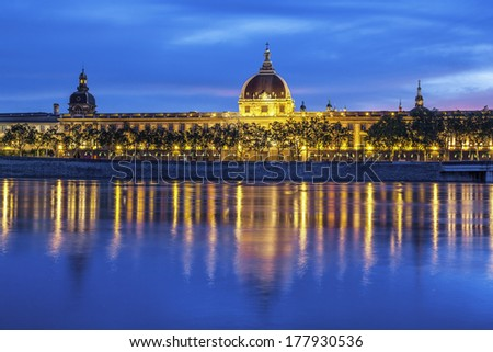 Lyon after sunset with Saone river  - stock photo
