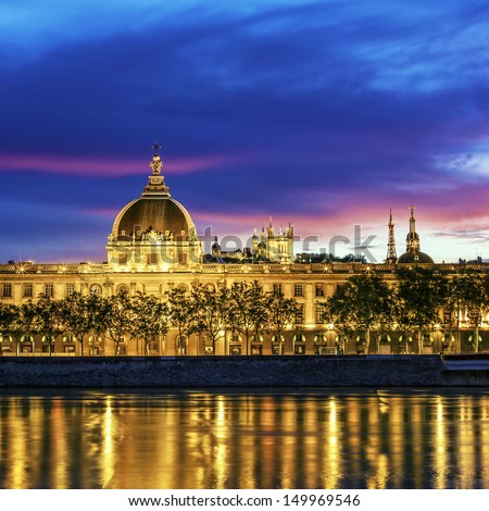 Lyon at sunset with Saone river - stock photo