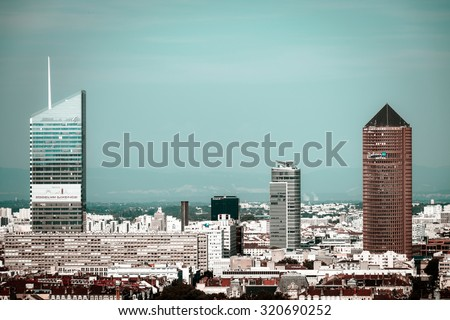 Lyon city bird-fly view from the hill, France, tourism concept - stock photo
