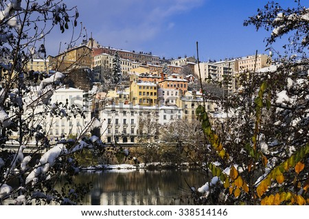 Lyon city in winter, Rhone river and Croix-rousse district, France - stock photo