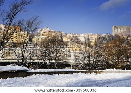 Lyon city in winter, Rhone river France - stock photo