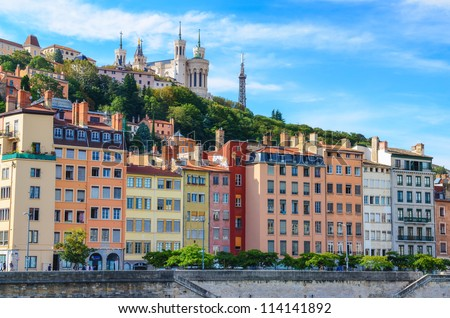 Lyon cityscape from Saone river with colorful houses - stock photo