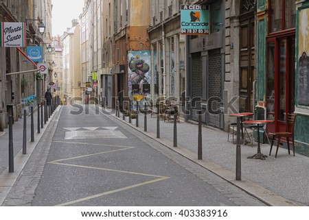 "LYON, FRANCE, April 8, 2016 : La Croix-Rousse district. Due to silk industry history, district is nicknamed ""hill that works"" in contrast to better-known hill, Fourviere, known as ""hill that prays""."